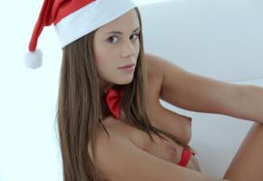 christmas, caprice, little caprice, marketa, caprice a, naked, tits, perky nipples, hat, bowtie, hi-q
