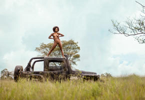 nude, savanna, ivi pizzott, exotic, african, jeep, shaved pussy, boobs, tits