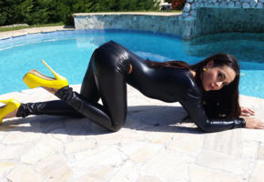 kristall rush, aurelly rebel, russian, brunette, leather, latex, pool, high heels, non nude, tight clothes, plateau heels, fetish babe, widescreen cut