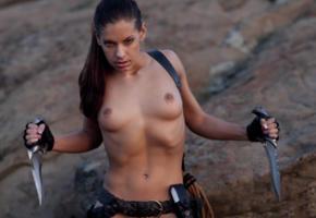zamara, action girl, brunette, desert erotic, tits, knife, boobs