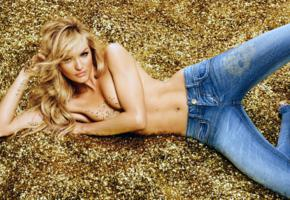 candice swanepoel, blonde, model, jeans, topless, tits, hi-q