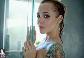 janesinner, suicide girls, tattoo, redhead, shower, janesinner suicide, wet
