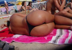 beach, ass, sand, outdoor, bikini, wet, tanned, topless, thong, panties