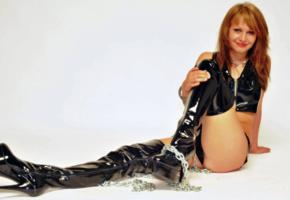 smile, shiny clothes, shiny, pvc, overknee boots, fetish babe, metal chains, erotic, babes in boots
