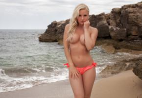 victoria angel, blonde, bikini, sand, beach, tits, sea, topless