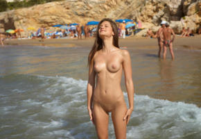 caprice, little caprice, marketa, caprice a, beach, naked, tits, puffy nipples, shaved pussy, labia, ultra hi-q, sea, tanned, brunette, nude, smile