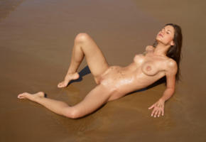 caprice, little caprice, marketa, caprice a, beach, naked, tits, puffy nipples, shaved pussy, labia, spread legs, ultra hi-q, wet, tanned, brunette, nude