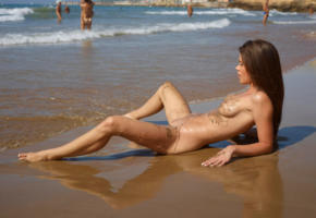 caprice, little caprice, marketa, caprice a, beach, naked, tits, puffy nipples, shaved pussy, sandy, spread legs, ultra hi-q, dirty, sea, tanned, brunette, nude