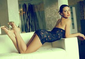 deman, brunette, shoes, sexy legs, black dress, young, lorena garcia
