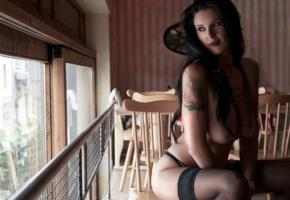 brunette, stockings, bad quality, tattoo, boobs, tits