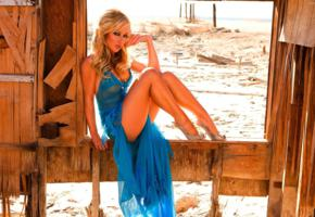 blonde, dress, kayden kross, sexy legs, blue dress