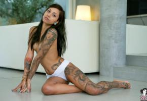 zad, suicide girl, model, brunette, skinny, sexy, small tits, tattoo