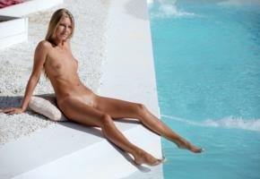 anjelica, abby, chelsea, krystal boyd, pool, naked, tits, nipples, shaved pussy, tan lines, smile, hi-q, blonde