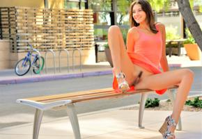 roxanna, sexy, dress, pussy, upskirt, bench, public, hot, xxx, erotic, trimmed pussy, labia, smile
