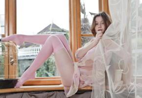 emily bloom, sex-art, long hair, window, beautiful female legs, stockings, sexy legs