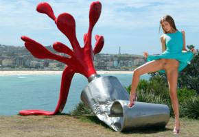maria ryabushkina, maria, tara, melena, maria rya, outdoors, dress, bottomless, flashing, sculpture, shaved pussy, tattoo, spread legs, high heels, hi-q, upskirt, funny, tanned
