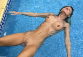 markete, pool, spread, water, swimming, nude, wet, boobs, tits, hard nipples, nipples, shaved pussy, tanned, pussy, unknown
