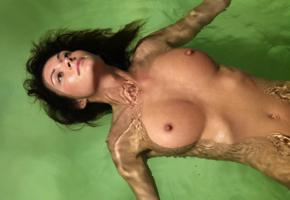 brunette, floating, wet, hard nipples, big tits, boobs, nipples, tanned, unknown