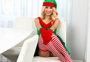 xmas elf, uma jolie, belicia, blonde, no panties, shaved pussy, labia, smile, pussy, stockings, christmas