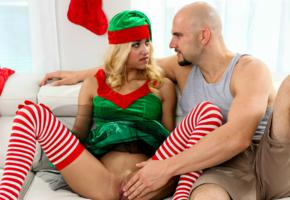 xmas elf, uma jolie, belicia, blonde, man, no panties, shaved pussy, labia, touching, spread legs, pussy, stockings, christmas, dick