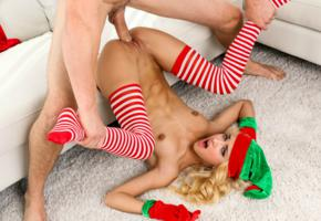 xmas elf, uma jolie, belicia, blonde, naked, stockings, hat, man, sex, small tits, perky nipples, shaved pussy, labia, spread legs, hard cock, penetration, hard sex, pussy, christmas, good thrust, dick