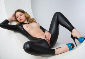 foxy, masturbate, hot, nude, tits, tight, famegirls, fetish, slim, bitch, posing, laying, shiny, black, lycra, catsuit, legs, spread wide, enjoy, teasing, herself, fingering, shaved, cunt, high heels, hi-q