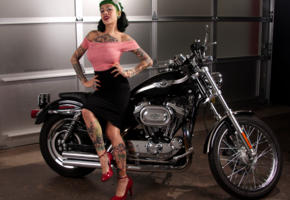 suicide girls, tattoo, black hair, motorcycle, harley davidson chopper, pin-up, harley davidson