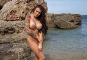 charley atwell, charley, brunette, beach, naked, big tits, nipples, shaved pussy, tattoo, tanned, hi-q, charley a