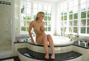 alanah rae, big boobs, blonde, pornstar, babe, bathtub, sexy, fake tits, bathroom, wet