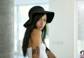 zad, suicide girl, model, brunette, sexy, tattoo, tanned, hat, long hair