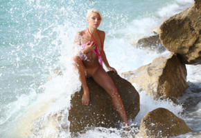 gertruda, platinum blonde, beach, naked, small tits, shaved pussy, tanned, wave, hi-q, crashing waves, tanlines, rock