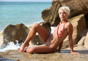 gertruda, platinum blonde, beach, naked, small tits, puffy nipples, shaved pussy, labia, spread legs, tanned, hi-q, beautiful female legs