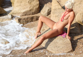 gertruda, platinum blonde, beach, naked, small tits, puffy nipples, shaved pussy, spread legs, tanned, hi-q