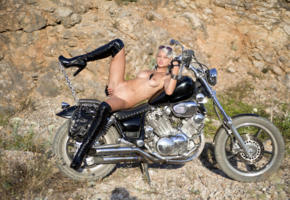 adelia b, sonia, vesna, nika a, blonde, motorcycle, naked, small tits, puffy nipples, shaved pussy, labia, spread legs, boots, sunglasses, hi-q, sexy dressed