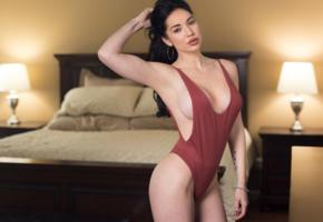 brunette, wallpapper, green eyes, big boobs, boobs, model, lips, one piece, hips, sideboob, bed, indoor, lingerie, hot, sexy, long hair, hi-q