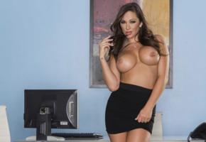destini dixon, sexy, big tits, call me, operator, secretary, skirt, topless, boobs, mature