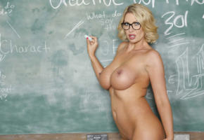 leigh darby, teacher, board, big tits, tits, boobs, nipples, mature, glasses
