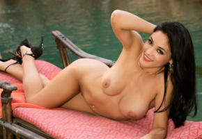 big tits, boobs, brunette, smile, nude, pool, jasmine caro
