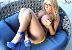 taylor stevens, blonde, big tits, boobs, glasses, legs, handbra