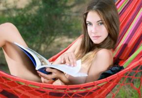 petite, cute, model, book, brunette, marta e, hammock