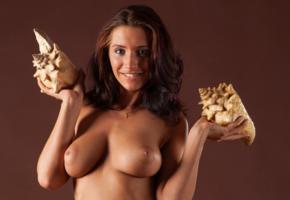 simone b, nadia, gretta, kiska, ella, simona nikolay, brunette, topless, seashell, rack, breasts, boobs, tits, big tits, natural tits, all natural, big nipples, gorgeous, voluptuous, hi-q, smile