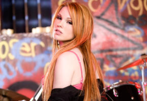 jayme langford, redhead, stripping, jacket, drums