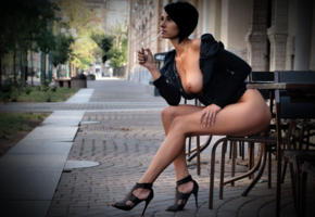 sexy, legs, boobs, tits, public, smoking, cigarette, brunette, high heels, perfect lady, perfect tits
