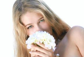 model, long hair, flowers, blue eyes, genevieve gandi, christianna, erica b, izabel, marianna merkulova, xana d