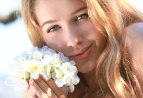 beauty, face, smile, flowers, blue eyes, genevieve gandi, christianna, erica b, izabel, marianna merkulova, xana d