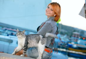 violla a, dina p, myza, cute, cat, port, jeans, smile, harbor, outdoors