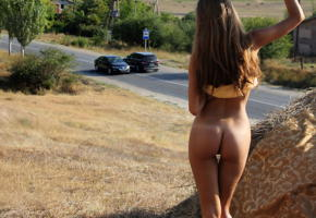 model, outdoor, nature, road, brunette, hot ass, unknown, ass, tanned
