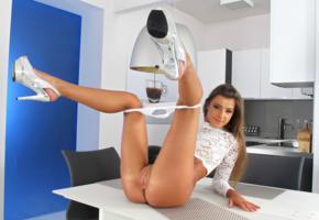 maria ryabushkina, maria, tara, melena, maria rya, auburn, kitchen, bottomless, panties, shaved pussy, labia, ass, spread legs, high heels, tanned