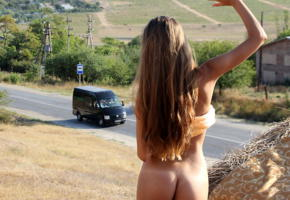 model, outdoor, nature, road, brunette, skinny, exhibitionist, hot ass, unknown, ass, tanned