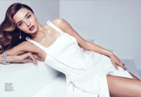 miranda kerr, vogue, dress, scan, white dress, brunette, bad quality